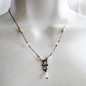 Jewelry - SILVER PEARL Bead Teardrop Necklace Tiny Charm